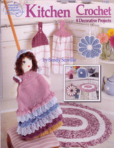 Crochet Kitchen 8 Decor Projects Tea Cozy Potholder Broom Cover Doll Toppers New - $7.99
