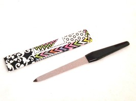Double Sided Metal Nail File with Black Handle & Print Pattern Holding Case - $7.85