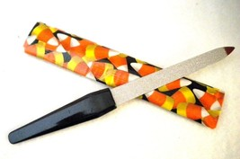 Double Sided Metal Nail File with Holloween Candy Corn Design Holding Case - $6.86