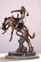 """Bronco Twister"" Collectible Solid Bronze Sculpture Statue By C. M. Russ... - $327.98"