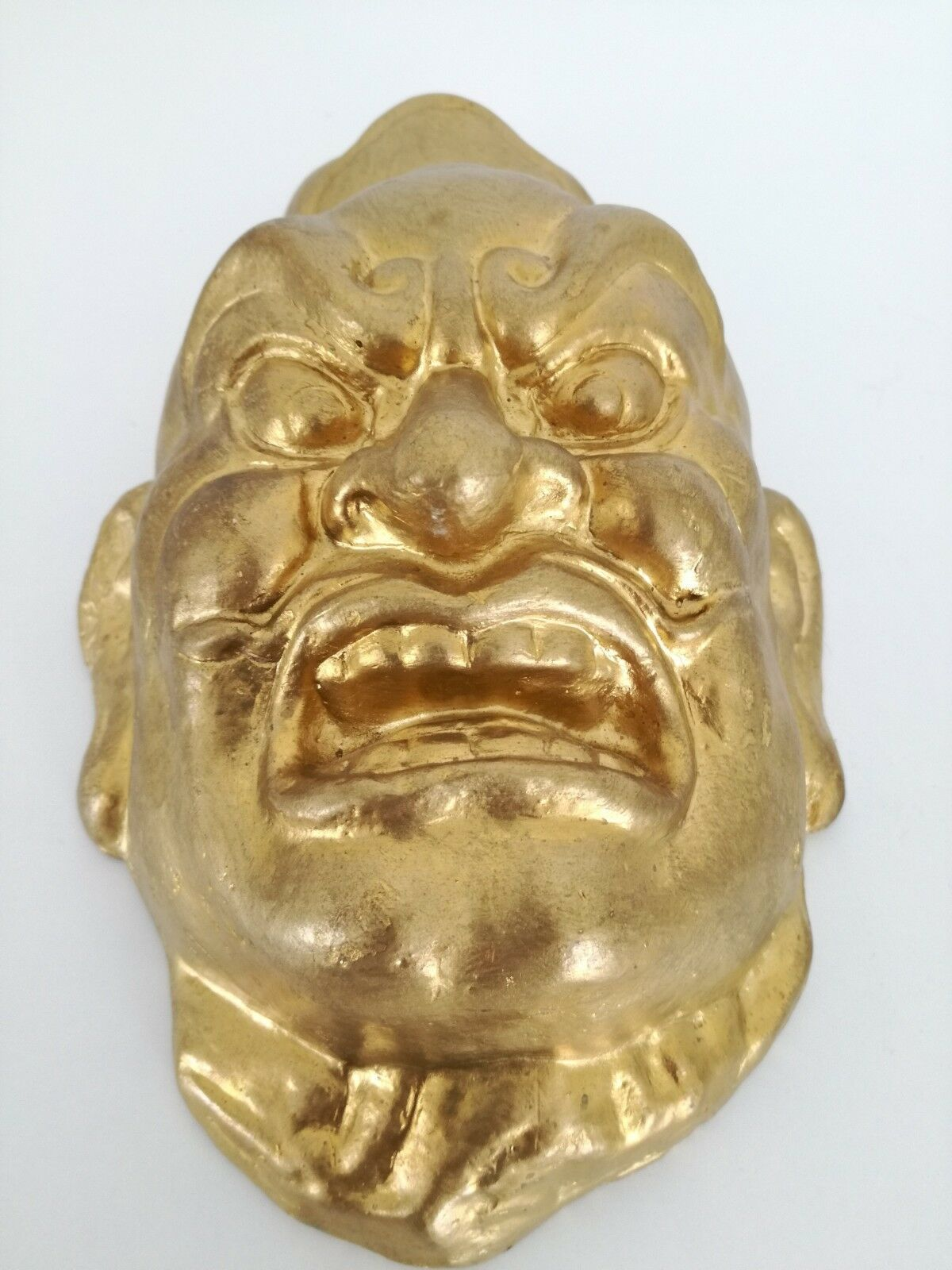 "Vintage or Antique Chinese plaster mask gold face 10"" image 4"