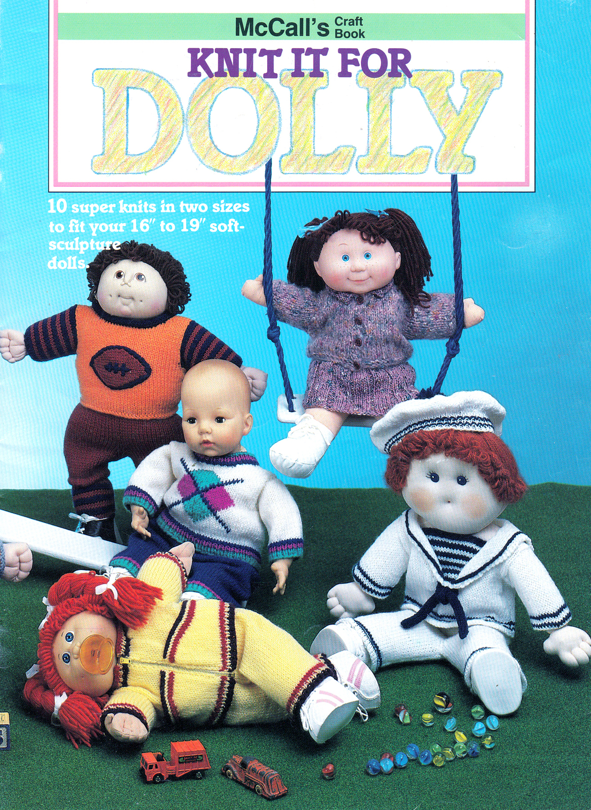 Primary image for MCCALL'S KNIT IT FOR DOLLY DOLL SOFT SCULPT CPK COAT HAT DRESS SAILORSUIT JOGGER
