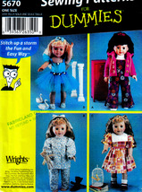 "18"" DOLL SEWING 4 DUMMIES PATTERN AMERICAN GIRL SIMPLICITY 5670 UNCUT MI... - $13.98"