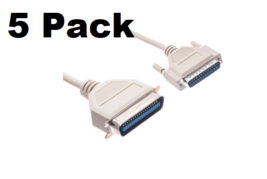 5 Pack 6Ft. DB25 Male to Centronics 36 Male Parallel Printer Cable IEEE1284 - $35.70