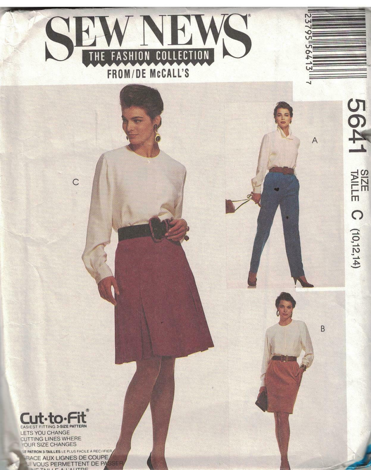 Primary image for 5641 Vintage McCalls Sewing Pattern Misses UNCUT Tapered Pants Skirts Career OOP