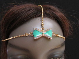 New Women Head Chain Fashion Gold Metal  Jewelry Center Bow Rhinestones ... - $9.79