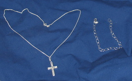 Sterling silver Necklace, Bracelet and Cross. - $50.00