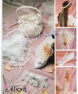 BRIDAL RING PILLOW GLOVES BOUQUET LACE GAUNTLET GARTER OOP MCCALL 2058 P... - $14.98