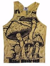 Yoga Men Tank Top sleeveless cotton yellow floral magic mushrooms hippie... - €10,90 EUR