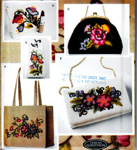 CREWEL EMBROIDERY BAGS - PURSES + ACCESSORIES SEWING PATTERN SIMPLICITY ... - $18.99