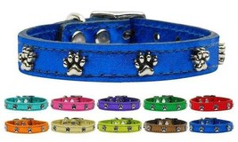 Metallic Paw Print Genuine Leather Dog Collar * Latigo Paws Puppy Love P... - €12,98 EUR+