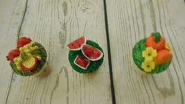 Three Wine Cork Tops Melon Oranges Pomegranite - $6.50