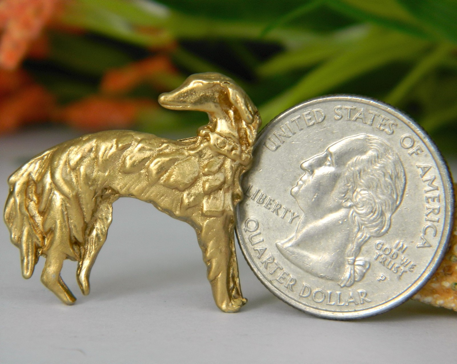 Vintage Borzoi Russian Wolfhound Saluki Hound Dog Brooch Pin Goldtone