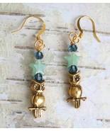 Judy Strobel Elegant Owl & Aventurine Star Earrings - $25.00