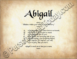 Abigail Hidden Within Your Name Is A Special Story Letter Poem  8.5 x 11... - $8.95