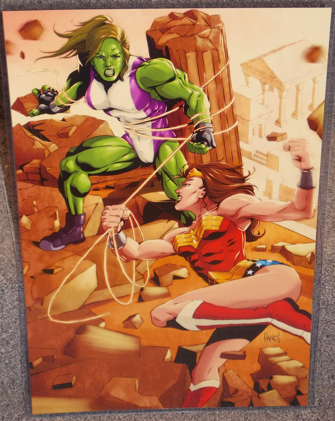 Primary image for Wonder Woman vs She Hulk Glossy Print 11 x 17 In Hard Plastic Sleeve