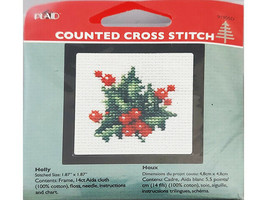 Plaid Counted Cross Stitch Kit With Frame, Set of 4 image 2