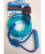 Squeaky Ring Pulling Dog Toy with Handle - Choose Blue or Pink - £7.21 GBP