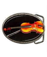 VIOLIN MUSICAL INSTRUMENT ORCHESTRA BELT BUCKLE CHROME - $12.99