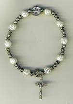 One Decade White  Bracelet Rosary - 3209A/W