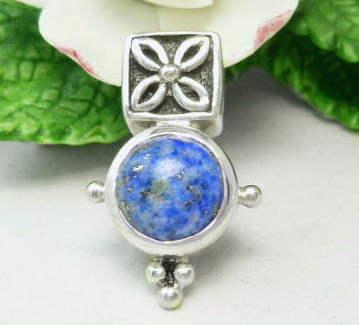 Sterling Denim Lapis Round Gemstone Pendant Blue