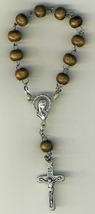 One Decade Brown wood beaded  Bracelet Rosary - 2011A