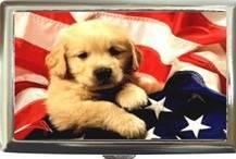 PARTIOTIC PUP AMERICAN FLAG CIGARETTE CARD E-CIG CASE Bonanza