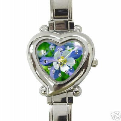 LADIES COLOMBINE FLOWER HEART CHARM WATCH! BEAUTIFUL! Bonanza