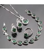 Jewelry Women 925 Sterling Silver Green Crystal  Earring Rings Necklace ... - $28.99