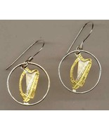 "Irish ½ penny ""Harp"" (dime size) gold and silver cut coin jewelry earrings - $100.00"