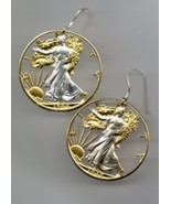 U.S. Walking Liberty half dollar, gold and silver cut coin jewelry earr... - $226.00
