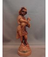 David Shepherd Boy With Lamb Statue Carved Olive Wood Israel Vintage - $23.00