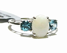 10K White Gold White Opal Oval Solitaire & Blue Zircon Ring, Size 7, 1.4... - $149.99