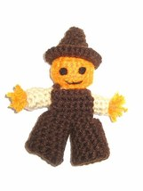 Pumpkin Head Scarecrow Finger Puppet or Decoration, Crocheted - $6.50