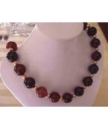HANDMADE Black Agate &   orange FW Pearls  NECKLACE BIG BOLD TRENDY  - $28.00