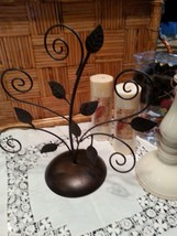 METAL BRONZE TABLE TOP SCROLL PICTURE OR CARD HOLDER - $17.82