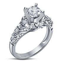 14k White Gold Finish 925 Sterling Solid Silver Womens Diamond Engagemen... - £59.66 GBP