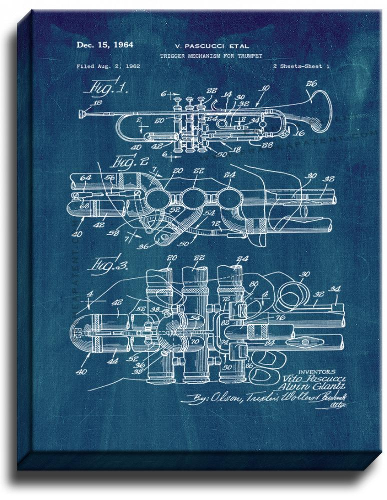 Primary image for Trumpet Patent Print Midnight Blue on Canvas