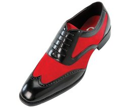 Handmade mens red Oxford wing tip suede and calf leather formal shoes, m... - $159.99