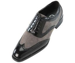 Handmade mens Oxford wing tip suede and calf leather formal shoes, mens shoes - $159.99