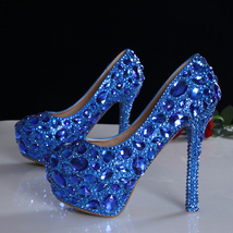 Blue Crystals Wedding heels,Bridal pumps,Custom color,Custom heels,Dress... - $168.00