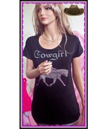 XL Black Cowgirl WESTERN PINK Rhinestone Horse Rider T-Shirt Top Shirt P... - $19.99