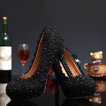 Black Dress shoes,Bridal pumps,Black Evening pumps,Custom heels,Dress Heels - $168.00