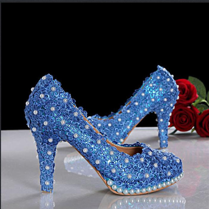 Royal blue 7cm Heels Lace Wedding ShoesBridals Pumps