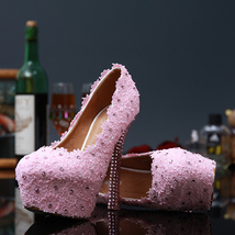 Pink Lace Wedding heels,Bridal pumps,Custom color,Custom heels,Dress Heels - £102.97 GBP