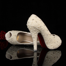 White Ivory Wedding Peep Toe Shoes,Peep Toe bridal shoes,Open toe Weddin... - £135.15 GBP