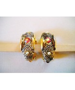 LADY LEE FAUX PEARL & PINK RHINESTONE CURVED CLIP-ONS - $9.99