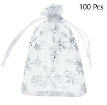 Christmas Organza Bags Snowflake Drawstring Jewelry Storage Glitter Gift... - $19.34
