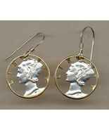 "U.S. Mercury dime ""90% silver"" Gold and Silver Cut Coin Jewelry Earrings - $89.00"