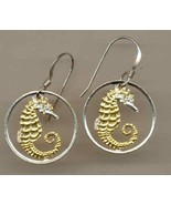 "Singapore 10 cent ""Sea Horse"" Gold and Silver Cut Coin Jewelry Earrings - $98.00"